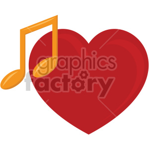 heart with music note no background
