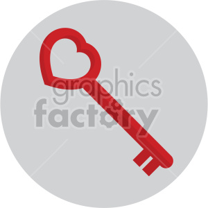 heart shaped skeleton key on circle background clipart. Commercial use image # 407597