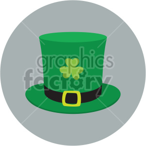 st patricks day hat with shamrock on circle background clipart. Commercial use image # 407644