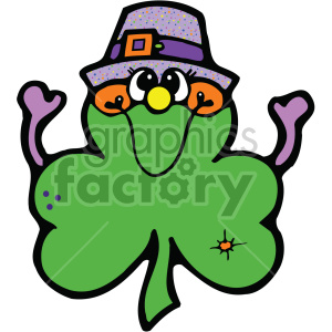 shamrock clover cartoon 004 c clipart. Commercial use image # 407727
