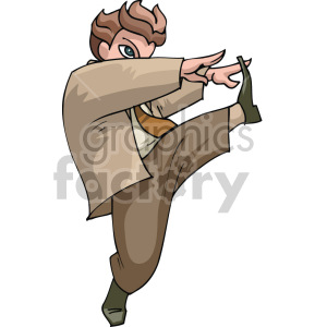 cartoon man stretching clipart. Commercial use image # 155313