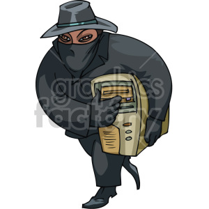 thief stealing a computer clipart. Commercial use image # 155314
