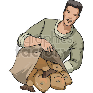 fishmonger selling fish clipart. Commercial use image # 168915