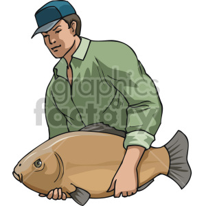 man holding huge fish clipart. Royalty-free image # 168907