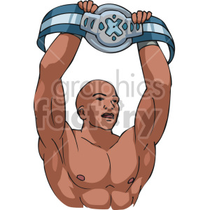 boxer holding up the championship belt clipart. Royalty-free image # 168745