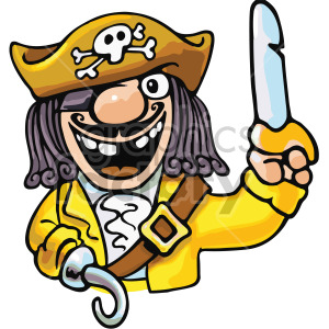 cartoon captain hook pirate clipart. Royalty-free image # 407800