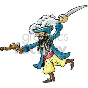 pirate swinging on a sword clipart. Commercial use image # 407802