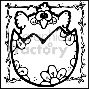 easter chick 001 bw clipart. Royalty-free image # 407866