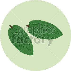 two small leaves on green circle background