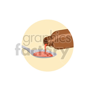 medicine pouring in spoon yellow background clipart. Commercial use image # 408200