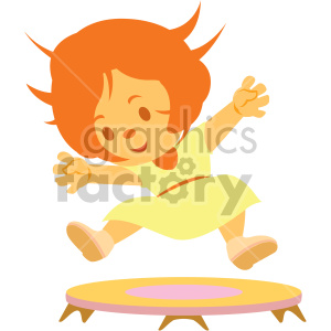 cartoon girl jumping on small trampoline clipart. Royalty-free image # 408393