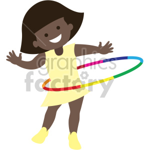 african american girl playing with hula hoop clipart. Commercial use image # 408399