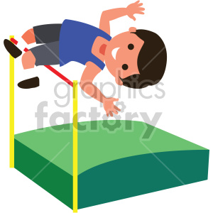 boy doing high jump clipart. Commercial use image # 408401