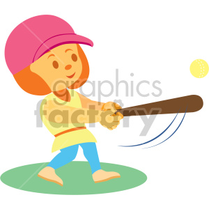 cartoon girl playing softball clipart. Commercial use image # 408410