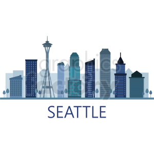seattle skyline vector design with label clipart. Commercial use image # 408594