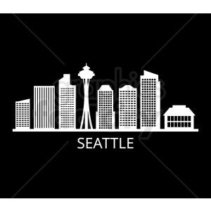 seattle skyline vector design with label on black background