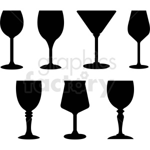 set of wine glass outlines vector clipart. Royalty-free image # 408671