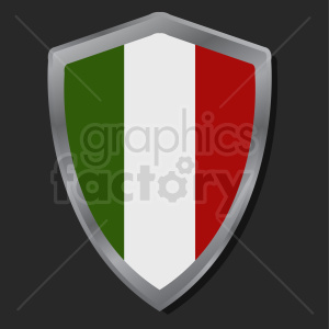 italy flag shield icon design on dark background clipart. Commercial use image # 408769