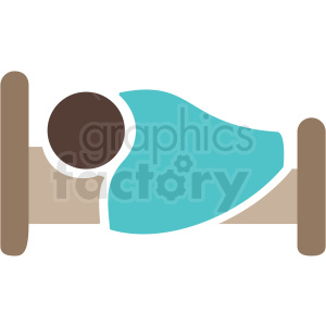 african american person sleeping in bed color icon vector clipart. Royalty-free image # 409190