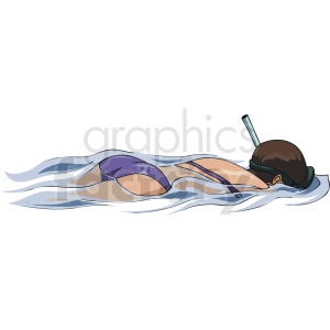 girl swimming with snorkel clipart. Royalty-free image # 169933