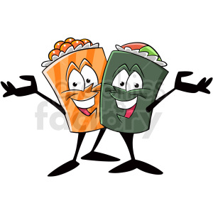 sushi friends greeting cartoon clipart. Royalty-free image # 409294