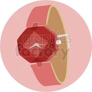 vector female wrist watch on pink background clipart. Royalty-free image # 409482