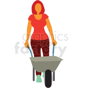 lady pushing a wheelbarrow clipart. Royalty-free image # 409641