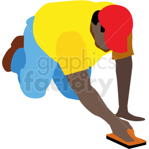 black man working on concrete vector clipart