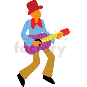 cartoon man playing guitar vector clipart