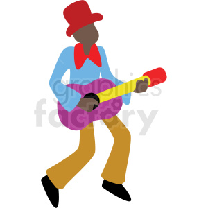 cartoon black man playing guitar vector clipart clipart. Commercial use image # 409665