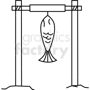 black and white fish hanging on rod icon clipart. Commercial use image # 409796