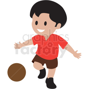 cartoon boy playing kickball clipart. Royalty-free image # 409961