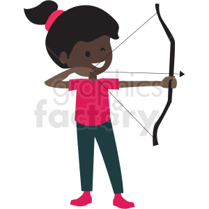 cartoon African American girl doing archery clipart. Commercial use image # 409970