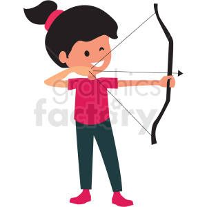 cartoon girl doing archery