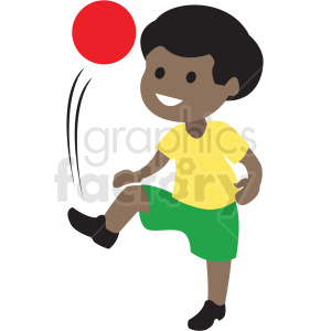 cartoon African American boy playing kick ball clipart. Commercial use image # 409980