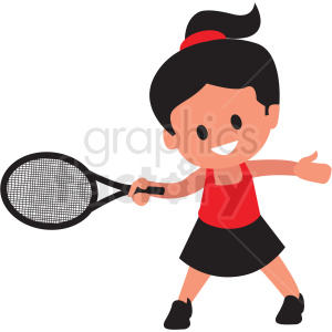 cartoon girl playing tennis clipart. Commercial use image # 409985