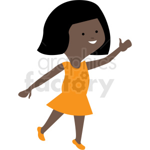 african american cartoon girl dancing vector clipart clipart. Commercial use image # 409989