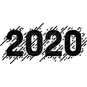 black white 2020 new year clipart clipart. Commercial use image # 410032