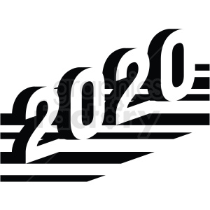 2020 new year clipart design black and white clipart. Royalty-free image # 410051