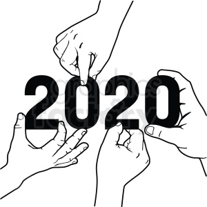 hands moving 2020 new year clipart clipart. Commercial use image # 410052