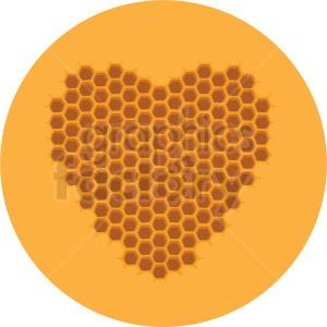 heart shaped honeycomb vector clipart yellow background