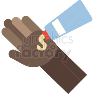 african american lotion on cartoon hand vector icon