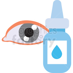 cartoon human eye with eye drops vector icon