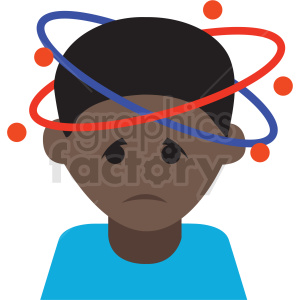 african american cartoon boy with bad headache vector icon clipart. Commercial use image # 410124
