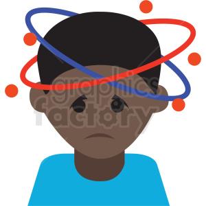 african american cartoon boy with bad headache vector icon