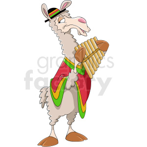 cartoon llama playing music clipart. Royalty-free image # 410141