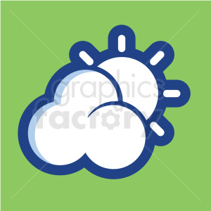 cloud and sun vector icon on green background