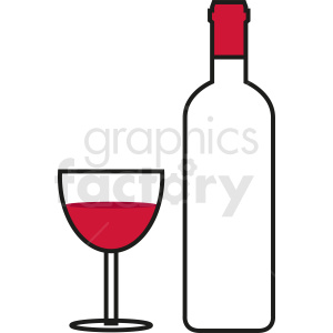 wine bottle with glass outline clipart. Commercial use image # 410277