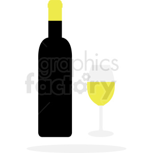 black wine bottle with glass clipart. Royalty-free image # 410292