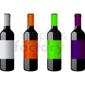 bottles of wine vector clipart
